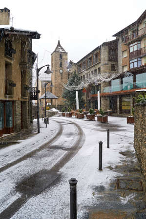 tourism in andorra: It is snowing on the town of Ordino, Andorra