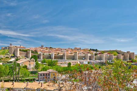 avila: Historic wall and city of Avila, Spain