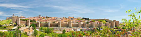 Panorama of the historic town of Avila in summer.