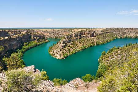 River bend. Duraton Canyon in Segovia, Spain
