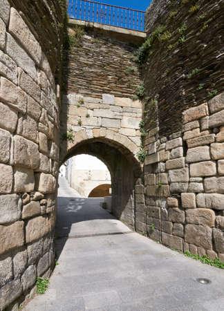 Gate in The Roman wall of Lugo in Galicia, Spain Stock Photo