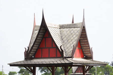Gabled wood pavilion of Thailand.