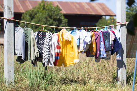 hanged (washed) clothes on rope