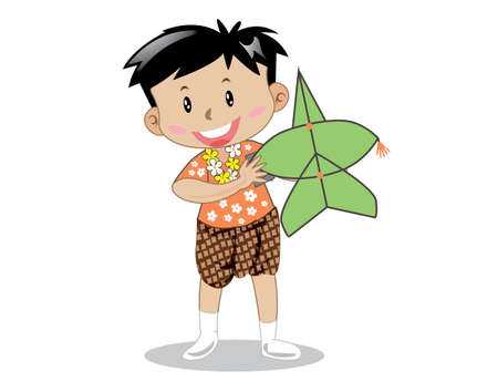 Boys wearing traditional Thai clothes, kites