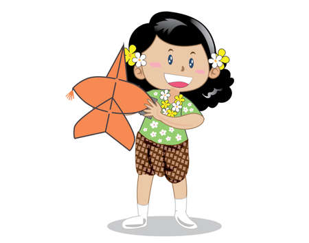 Girl wearing traditional Thai clothes, kite