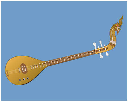 Vector illustration of a harp with stringed instruments There are many types according to locality. In the northeast region of Thailand