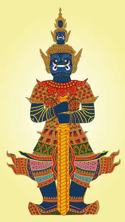 Illustration, vector, Thai giant, Thai pattern, on a yellow background Vektorgrafik
