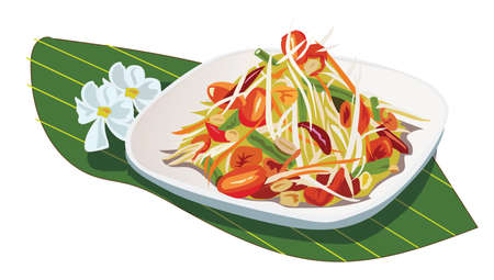 Illustration, papaya salad in a dish placed on a banana leaf White background