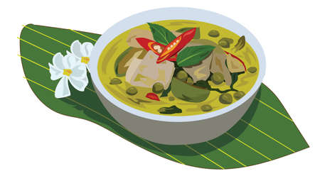 Illustration, chicken green curry on a plate, placed on a banana leaf White background