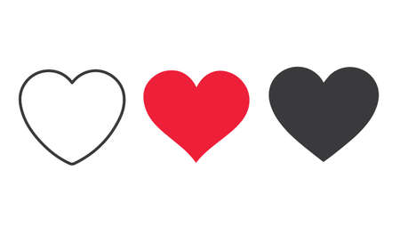 Three colored heart shaped symbols on a white background Vettoriali