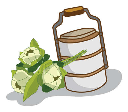 food carrier lotus illustration