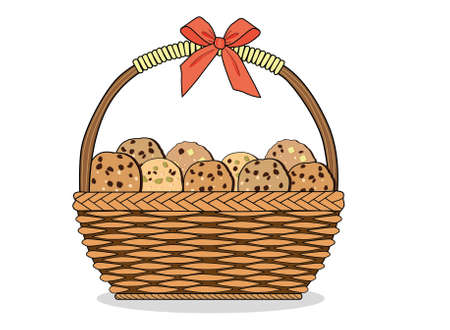 Vector illustration basket with red bow tie cookies