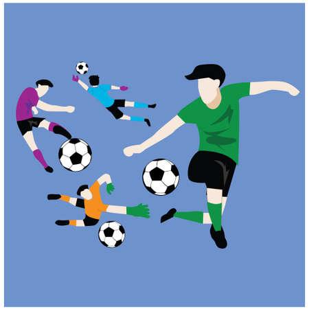 Footballer Kicking Ball Vector Illustration, blue Background - Vector