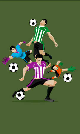 Footballer Kicking Ball Vector Illustration, green Background - Vector