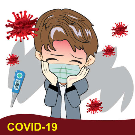 illustrator, vector, Inscription COVID-19 on white background. World Health Organization WHO introduced new official name for Coronavirus disease named COVID-19