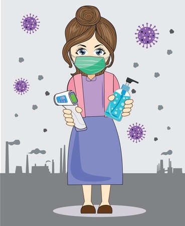 Illustration, vector, woman wearing a mask and hand washing gel, in a poisonous city