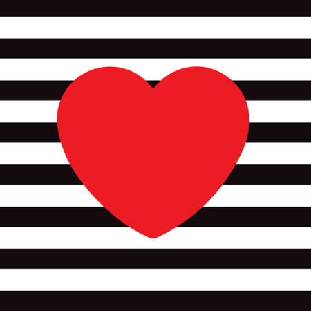 Vector, red heart, on a black and white courtyard background