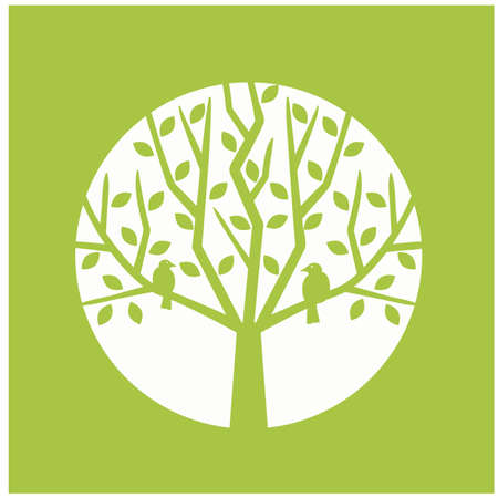 Illustration, vector, perched, on a green background Çizim