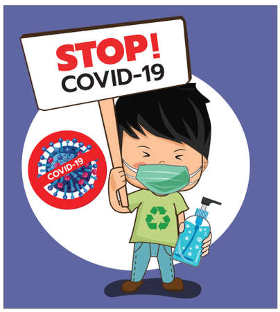 Illustration, vector, men wearing masks to prevent germs, the covid virus-19, carrying alcohol gels and signs to stop the spread of germs