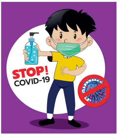 Vector illustration, a man wearing a mask to prevent germs covid-19, carrying the symbol alcohol gel, stops the spread of germs