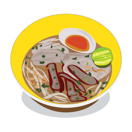 "Thai style pork chops noodle have boiled egg in ""Tom yum"" spicy soup on a plate,vector food"