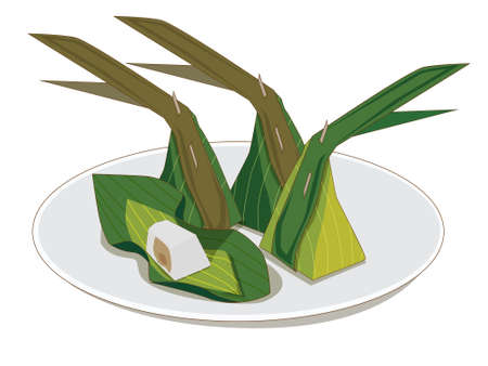 Steamed Flour with Coconut Filling (Thai Dessert) – Kanom Sai Sai ,placed on a plate  イラスト・ベクター素材