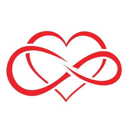 Red heart icon, with inner infinity symbol, long lasting love concept, on a white background