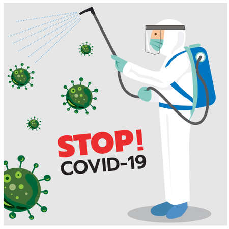 Vector illustration of personnel spraying the corona virus (Covid-19) disinfectant spray,Infographic,Health,Medical