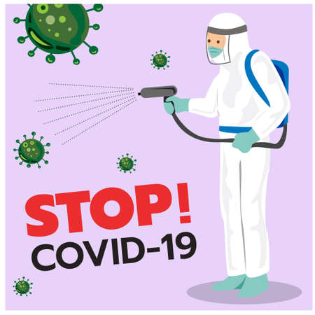 Vector illustration of personnel spraying the corona virus (Covid-19) disinfectantspray,Infographic,Health,Medical