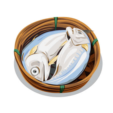 Vector of steamed mackerel in basket,Popular food in Thailand,  on white background,illustration