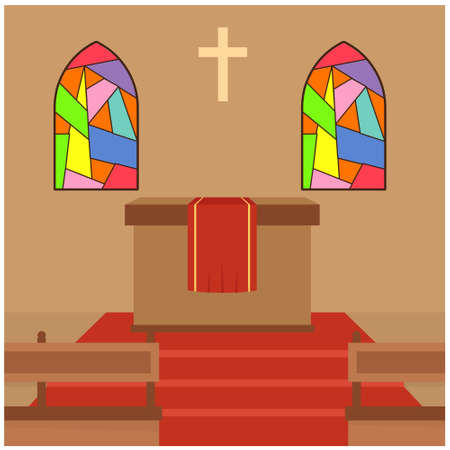 Vector illustration inside a Christian church with chairs and counters.