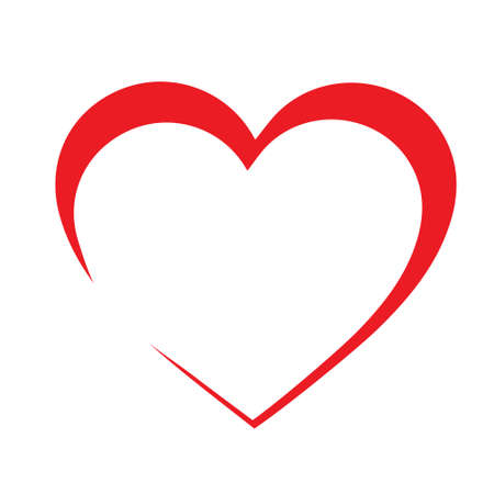 red heart shaped vector On a white background