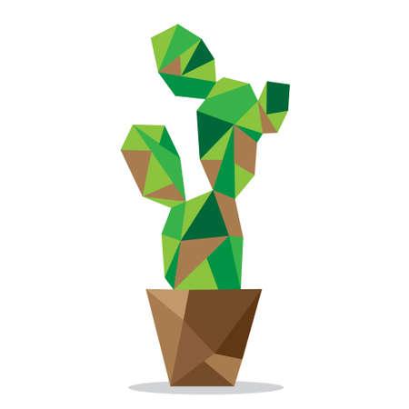 Vector polygon cactus On a white background Ilustração Vetorial