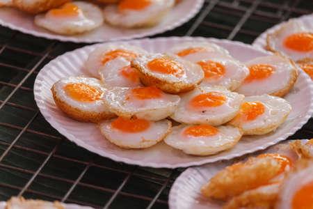 Fried quail egg or partridge egg fried,Thai street food Zdjęcie Seryjne