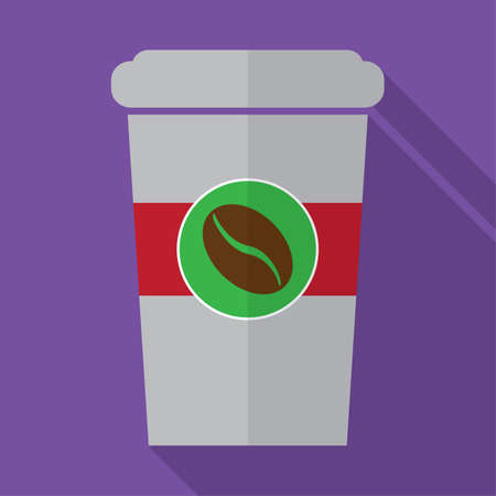 coffe cup with long shadow ,flat icon design,esp10 Illustration