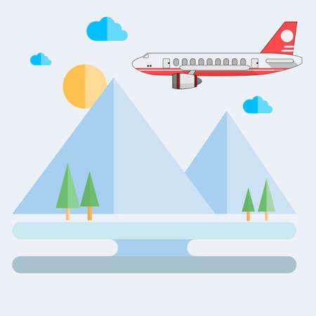 plane icon vector on Landscape background,vector stye,flat icon Illustration