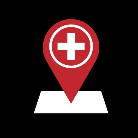 Krankenhaussymbol flaches Design auf weißem Hintergrund