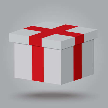 Vector realistic gift box,gift on gray background