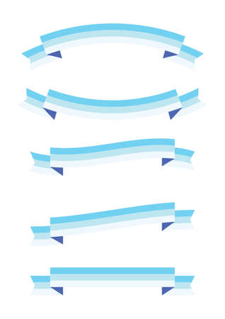 set of blue ribbon banner icon, flat  style,ribbon banner vector on white background