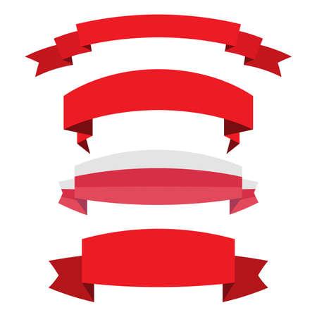 Satz des roten Bandfahnensymbols, Vektorillustration. Platz für Ihren Text. Bänder für Business und Design. Design-Elemente