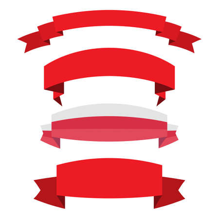 set of red ribbon banner icon,Vector illustration. Place for your text. Ribbons for business and design. Design elements