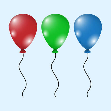 set of colorful balloons flat design style,. Happy Birthday, holidays, party concept, Trendy vector helium balloon symbol for website, web button, mobile app. illustration.