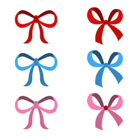 set of bow for celebration christmas and birthday, flat design isolated on white background,bow  for business and design. Design elements