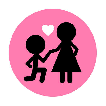 love icon vector, Men are kneeling for a married woman
