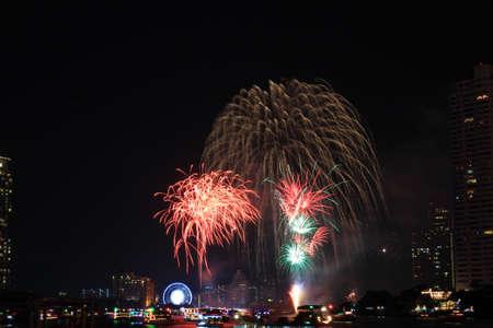 colorful light display: New Year fireworks display on the river, Bangkok
