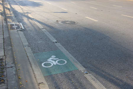 side of the road: Bicycle sign, lane on the side road in Bangkok Stock Photo