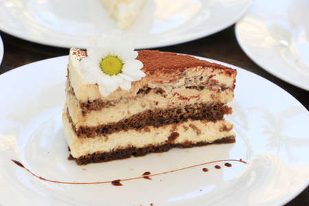 Slice of Chocolate layer cake with daisy flower on white plate