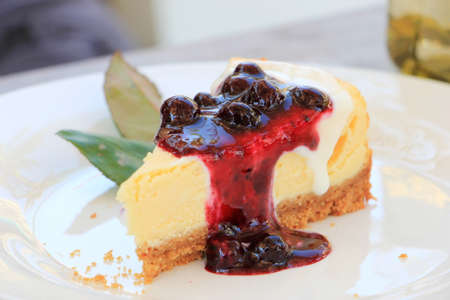 Slice of Blueberry cheesecake decorated with green leaves on white plate