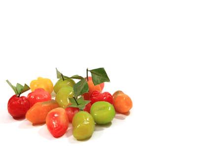Imitation Fruits on white background