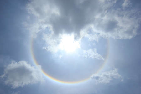 Fantastic sun halo with cloud and sky background, Phenomenon of nature.